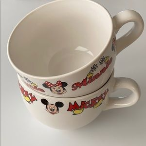 Vintage Set of Mickey Minnie Mouse Large Soup Mugs